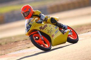 Met zelfgebouwde Motor tijdens het ONK 125cc kampioenschap